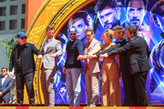 Kevin Feige, Chris Hemsworth, Chris Evans, Robert Downey Jr., Scarlett Johansson, Jeremy Renner and Mark Ruffalo are seen attending the Hand and Footprint Ceremony at the TCL Chinese Theatre in Los Angeles, California.