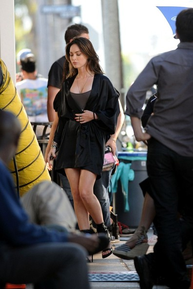 Megan Fox wears a robe and heels as she joins Leslie Mann on the set of 'This Is Forty' in Pacific Palisades.