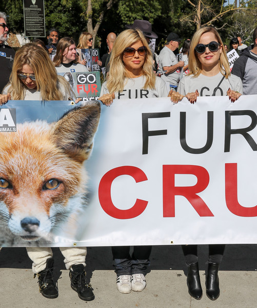 Celebrities Join An Anti-Fur Protest In Beverly Hills