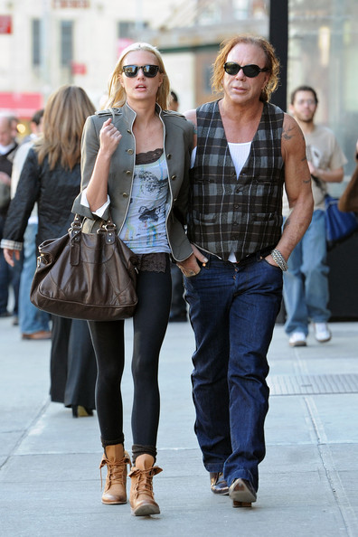 Actor Mickey Rourke and his girlfriend Anastassija Makarenko stop at a store in the Meatpacking district.
