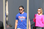 Miles Teller is seen arriving at 'Jimmy Kimmel Live' in Los Angeles, California on June 19, 2019.