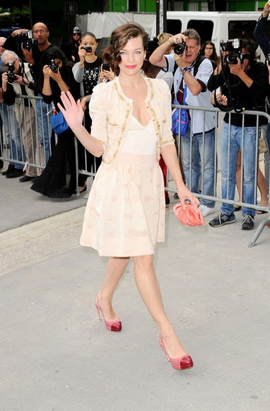Milla Jovovich Arrivals for the Chanel Fall-Winter 2012/2013 Couture fashion show during Paris Fasion Week.