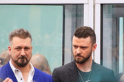 Joey Fatone and Justin Timberlake are seen at the ceremony honoring NSYNC with a star on the Hollywood Walk of Fame in Los Angeles, California.