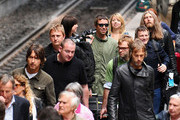 """Liam Gallagher, Alan White, Gem Archer, Andy Bell of the band """"Oasis"""" arrive at Gare du Nord (aka North Station) to perform at the Rock en Siene festival."""