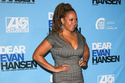 Tracie Thoms is seen arriving to the Los Angeles opening night performance of 'Dear Evan Hansen' at Ahmanson Theatre in Los Angeles, California.
