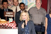 The cast of 'Parks and Recreation' celebrate their 100th episode on October 16, 2013.