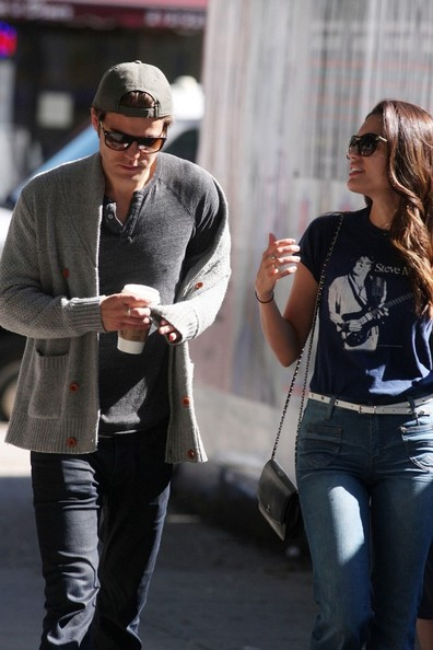 FOR USA SALES: Contact Randy Bauer (310) 910-1113 bauergriffinsales@gmail.com.FOR UK SALES: Contact Caroline 44 207 431 1598 MUST BYLINE: EROTEME.CO.UK.Paul Wesley and wife Torrey DeVitto sip on coffee and go for a morning stroll through SoHo.