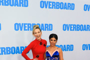 Kelley Jakle and Chrissie Fit are seen arriving at the Premiere of Lionsgate and Pantelion Film's 'Overboard' at Regency Village Theatre in Los Angeles, California.