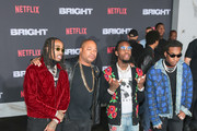 Xzibit, Quavo, Takeoff, Offset are seen arriving at the Premiere Of Netflix's 'Bright' at Regency Village Theatre in Los Angeles, California.