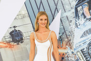 Rosie Huntington-Whiteley is seen arriving at the premiere of Universal Pictures' 'Fast and Furious Presents: Hobbs and Shaw' at Dolby Theatre in Los Angeles, California.