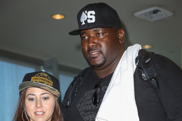 Quinton Aaron Celebrities Visit the Staples Center