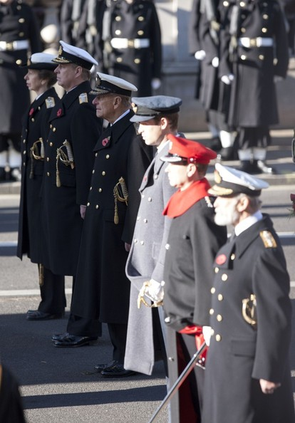 11th November 2012.  The Remembrance service at The Cenotaph in London today.Here, Prince Phillip with Princess Anne and Prince Andrew.