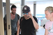 Ricky Gervais and Jane Fallon are seen at LAX on September 22, 2015.