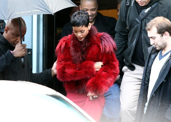 Rihanna's Furry Red Coat