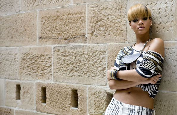 Rihanna poses for photographers at Intercontinental Hotel to promote her new album 'Rated R.'.