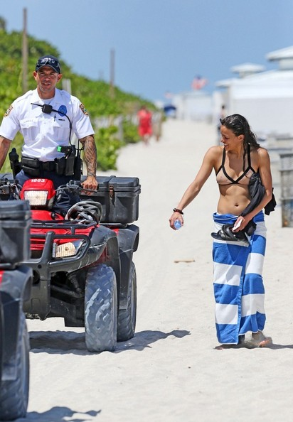 Michelle+Rodriguez in Michelle Rodriguez at the Beach