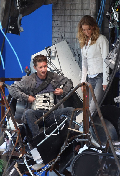 Rosie Huntington-Whiteley and Shia LaBeouf film an action scene for 'Transformers: Dark of the Moon'.