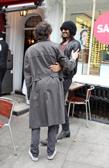 Simon Amstell Russell Brand and Simon Amstell in Hampstead