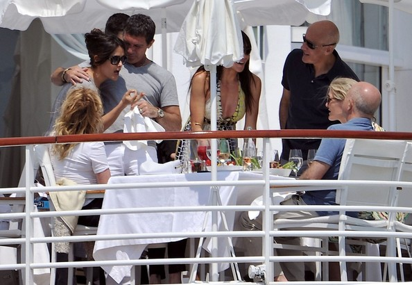 Salma Hayek Salma Hayek has a heated conversation with Melanie Griffith and Antonio Banderas as she joins them for lunch at on the terrace of the Eden Rock hotel.
