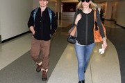 Sam Rockwell and Leslie Bibb at LAX