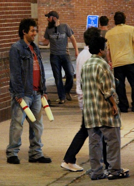 Adam Sandler, Andy Samberg and Vanilla Ice (aka Robert Van Winkle) film scenes for 'I Hate You, Dad'.