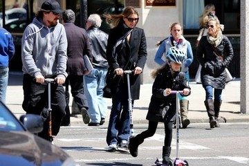 Sandra Blazic Christian Bale Rides a Scooter With His Family