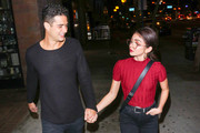 Sarah Hyland and Wells Adams are seen in Los Angeles, California.