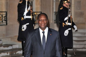 Alassane Ouattara Nicolas Sarkozy and Carla Bruni at Elysee Palace