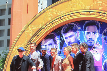 Scarlett Johansson Kevin Feige Marvel Studios' 'Avengers: Endgame' Cast Place Their Hand Prints In Cement At TCL Chinese Theatre IMAX Forecourt