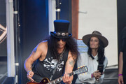 Slash and Meegan Hodges are seen at 'Jimmy Kimmel Live' in Los Angeles, California.