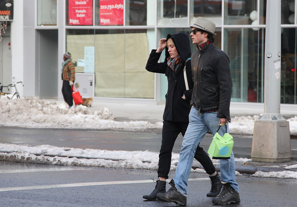 Actor Ian Somerhalder walks around in the snow with his girlfriend, Megan Auld.
