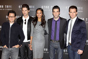 "The stars of ""Star Trek"" attend the premiere at the Hyatt hotel.Photo shows:  Zoe Saldana, J.J. Abrams, Eric Bana, Zachary Quinto, Chris Pine."