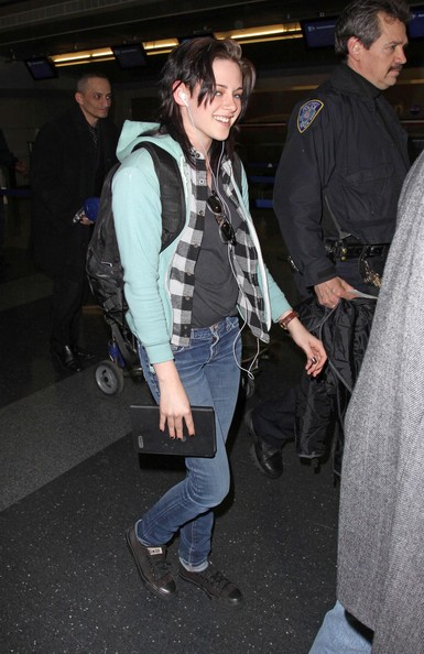 Kristen Stewart arrives into JFK International Airport.
