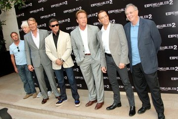 """Sylvester Stallone Dolph Lundgren """"Expendables 2"""" photocall in Paris"""