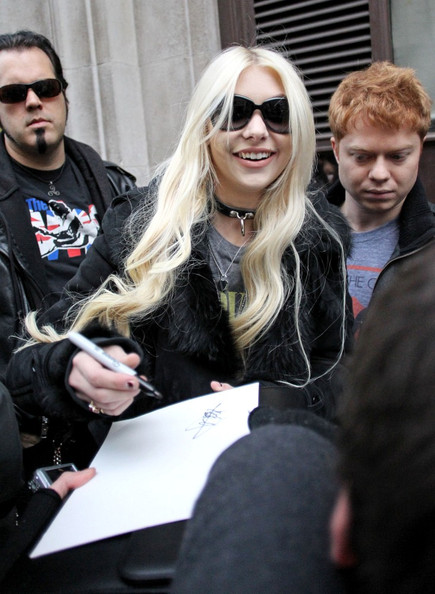 Taylor Momsen is all smiles as she arrives at BBC Radio 1.