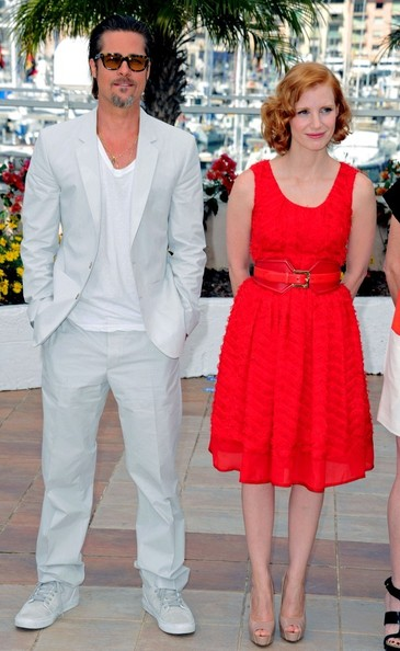 "Brad Pitt and Jessica Chastain attend for ""The Tree of Life"" photocall during the 64th Cannes Film Festival ."
