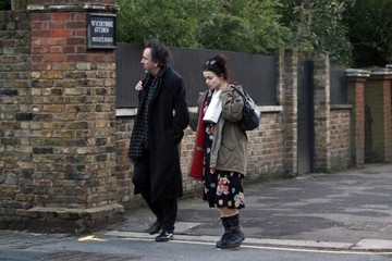 Tim Burton Helena Bonham Carter and Tim Burton Walk Together