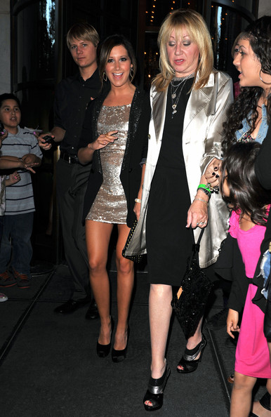 Ashley Tisdale in town for The CW Network Upfront Event arrives at her hotel and later leaves with her mother for the after party.