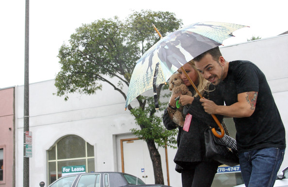 Ashley Tisdale Ashley Tisdale gets cover under an umbrella with the help of a male friend, perhaps more to shield cameras than the few droplets of rain.