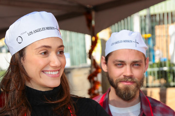 Tom Payne Celebrities Are Seen at LA Mission Thanksgiving Dinner for the Homeless