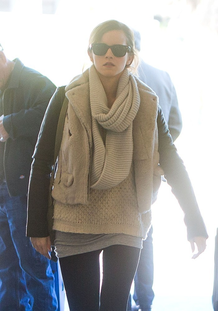 Emma Watson's Cozy Airport Layers