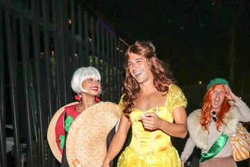 Wells Adams Sarah Hyland And Wells Adams Are Seen Outside The Just Jared Halloween Party At Goya Studios