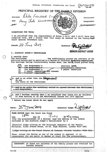 Amy Winehouse S Divorce Papers Zimbio