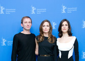 """Celebrities at the """"In The Land Of Blood And Honey"""" press conference during the 62nd Berlin International Film Festival at the Grand Hyatt on February 11, 2012 in Berlin, Germany  Pictured: Goran Kostic, Angelina Jolie, Zana Marjanovic"""
