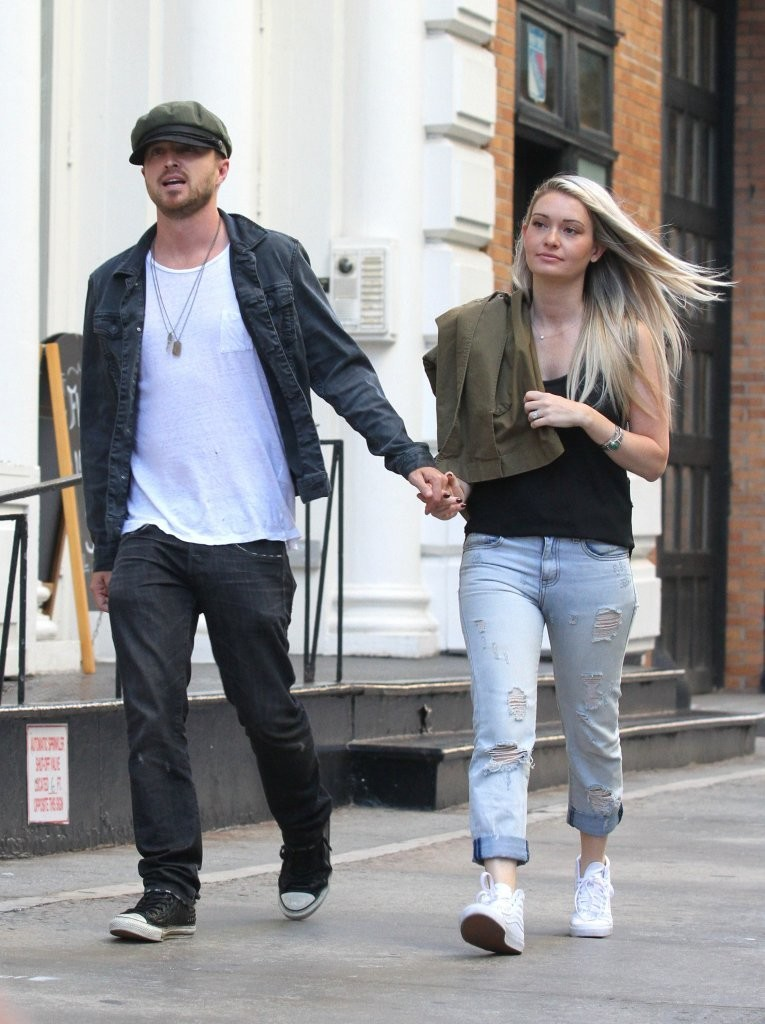 Aaron Paul - Out with his wife Lauren Parsekian in New York 8/3/2016