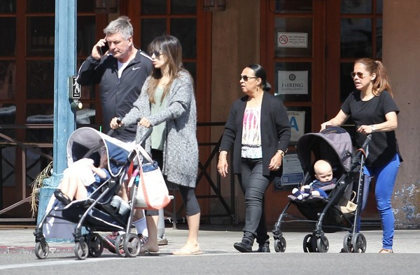Alec Baldwin & Pregnant Hilaria Thomas Stop By Kreation With Their Children