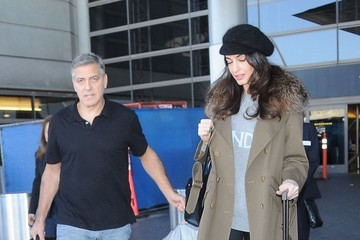 Amal Clooney George Clooney & Amal Alamuddin Arriving On A Flight At LAX