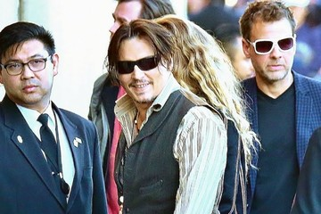 Amber Heard Johnny Depp and Amber Heard at 'Jimmy Kimmel Live!'