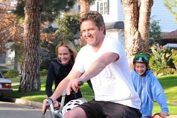 Christian McCaw Amber Valletta And Family Out For A Bike Ride In Brentwood