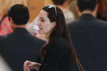Angelina Jolie Brad Pitt and Angelina Jolie Departing Los Angeles With Their Kids